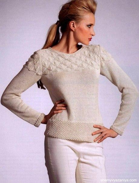 вязаные пуловеры для девушек спицами с описанием новинки