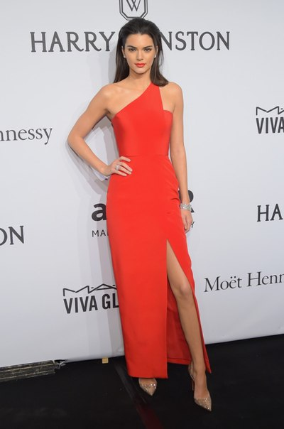 ораньженое платье в пол кендал дженнер Гала-ужин amfAR-2015 в Нью-Йорке
