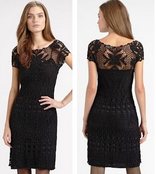 Нарядное черное платье крючком