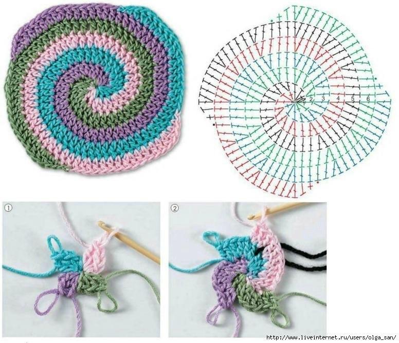 Цветное вязание по спирали.