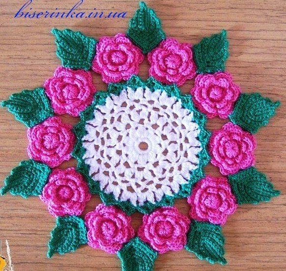 Салфетка с розами (2 фото) - картинка