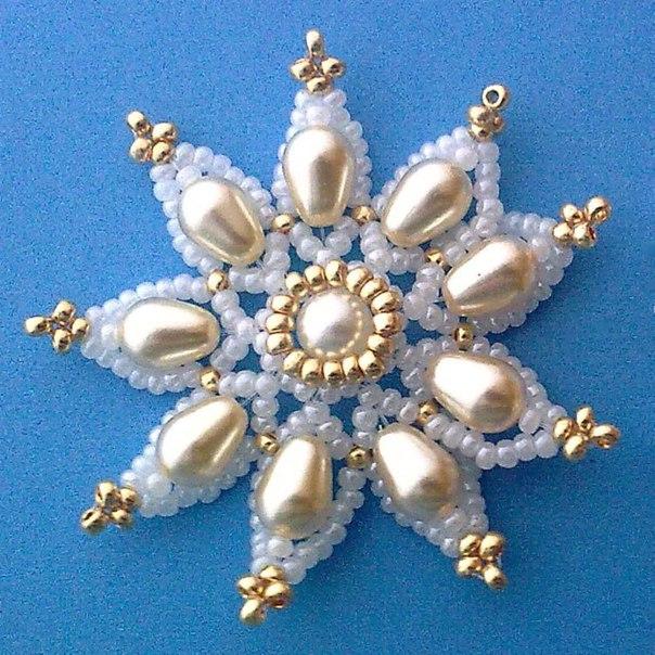 Снежинка из бисера. (9 фото) - картинка