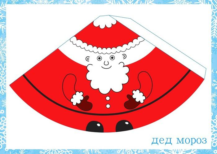 Дед мороз на елку с бумаги своими