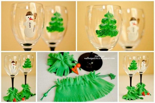 Декор бокалов к новому году (1 фото) - картинка