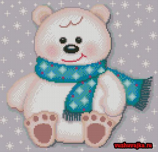 Новогодняя вышивка медвежонка (1 фото) - картинка