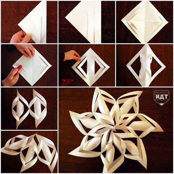 Снежинка из бумаги. Мастер класс (1 фото) - картинка