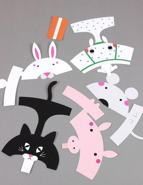 Забавные животные: пальчиковые куклы из бумаги...
