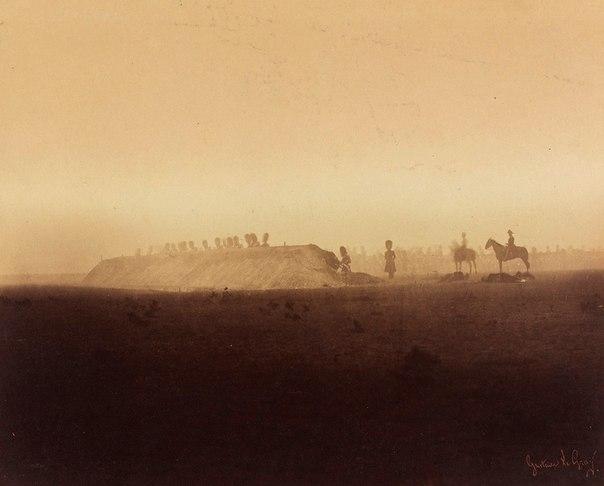Маневры французской кавалерии за шлагбаумом на Камп де Шалон, Gustave Le Gray, 1...