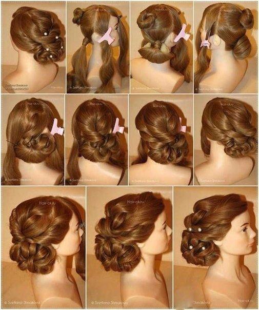 Красивые причёски своими руками видео на средние волосы