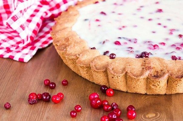 Открытый пирог с брусникой и сметаной фото и рецепт