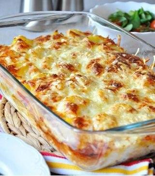 Сливочно-сырная запеканка с грибами и картофелем