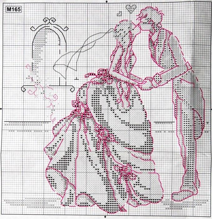 Схема вышивки подарок на свадьбу