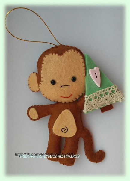 Милый обезьян с елочкой (2 фото) - картинка