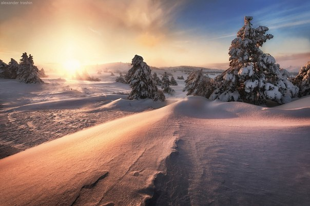 Рождественский закат на Ай-Петри, Крым. Автор фото: Александр Трашин