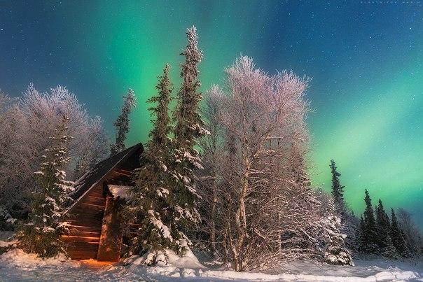 Зимняя ночь в Хибинах, Мурманская область. Автор фото — Максим Сластников.