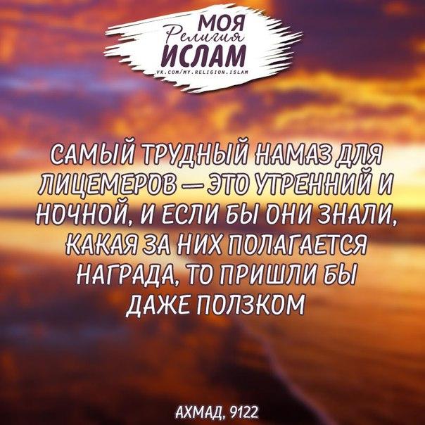 Пророк (да благословит его Аллах и приветствует) сказал: «Самый трудный намаз для лицемеров — это утренний и ночной, и если бы они знали, какая за них полагается награда, то пришли бы даже ползком»
