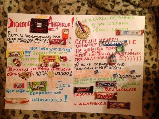 Плакаты с днем рождения своими руками со сладостями с