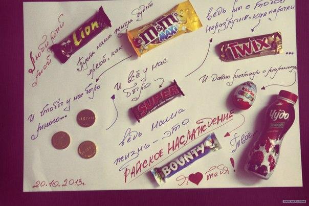 Плакат с шоколадками и надписями своими руками мужу