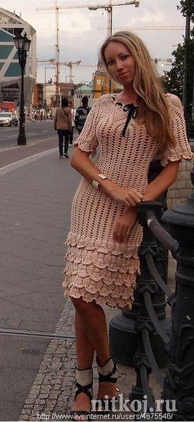 Платье вязанное крючком (5 фото) - картинка