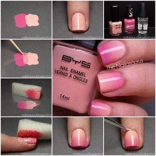 Как сделать омбре на ногтях фото пошагово 140