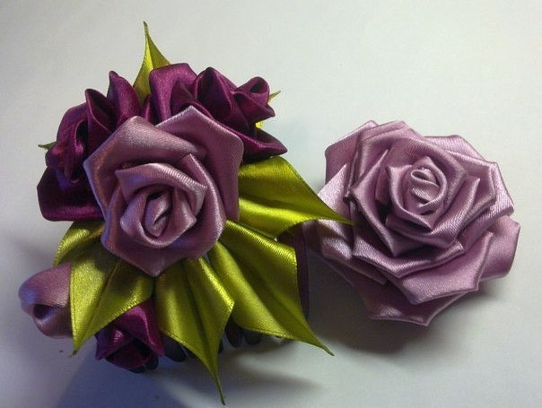 Роза в технике канзаши (6 фото)