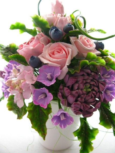Композиция цветов из полимерной глины и холодного фарфора:… (6 фото) - картинка