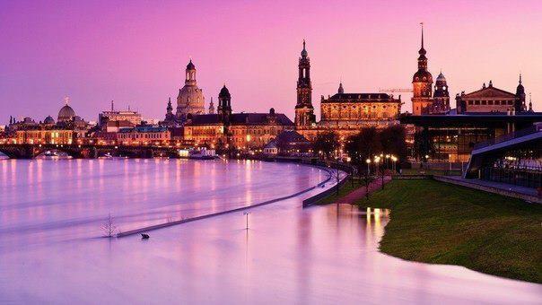 Набережная Эльбы в Дрездене, Германия