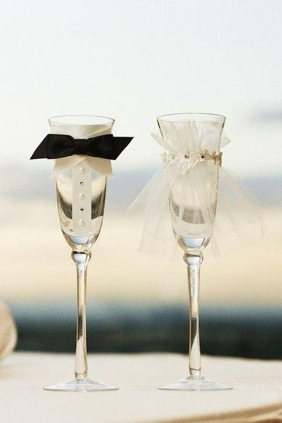 Свадебный декор бокалов (8 фото) - картинка