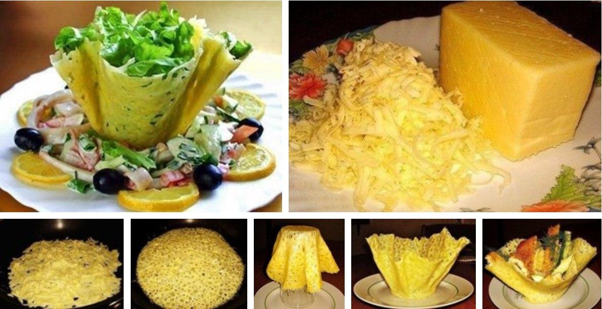 Как сделать корзинку из сыра для салата видео