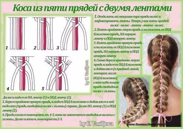 Научится плести косы с ленточкой