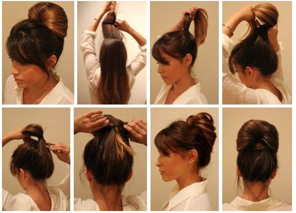 Причёски на средние волосы в домашних условиях фото в школу