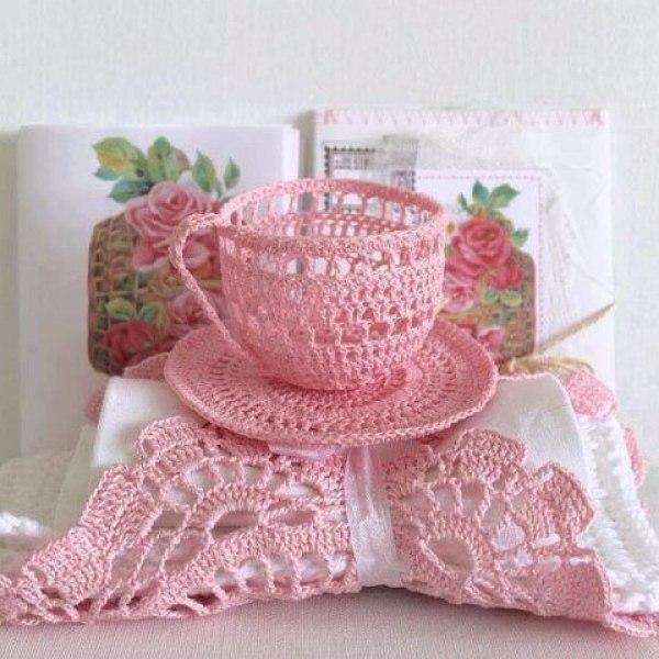 Delicadezas en crochet gabriela: taza y plato en crochet