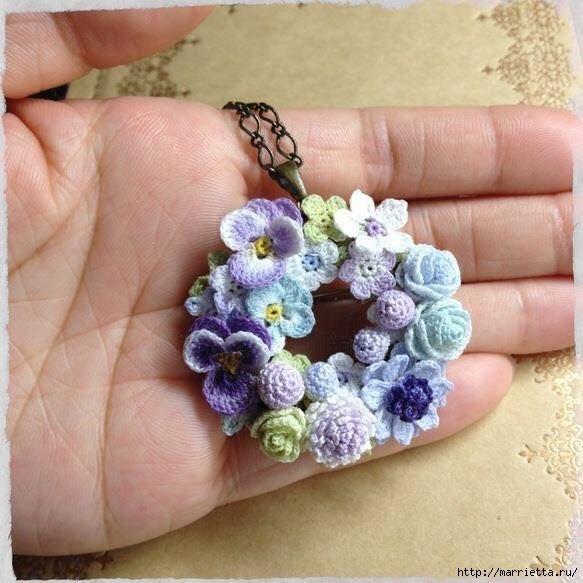 украшение и декор предметов цветочками крючкомцветы крючком схемы