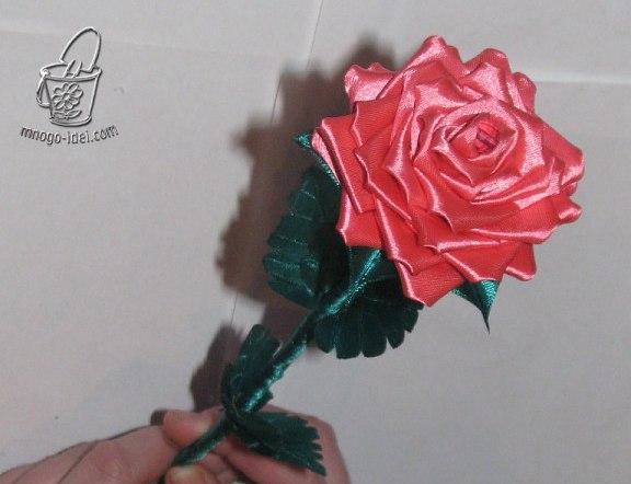 Роза в технике канзаши (10 фото) - картинка