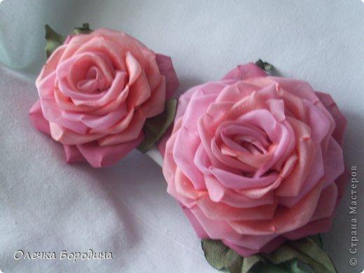 Пышная роза из органзы. Мастер-класс. (9 фото) - картинка