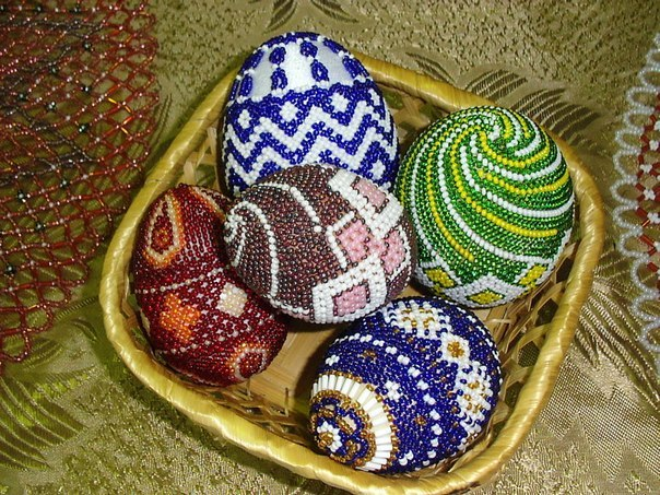 Пасхальные яйца из бисера.