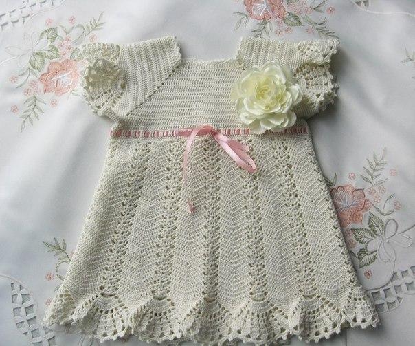 Платье для девочки, вязанное крючком (6 фото) - картинка