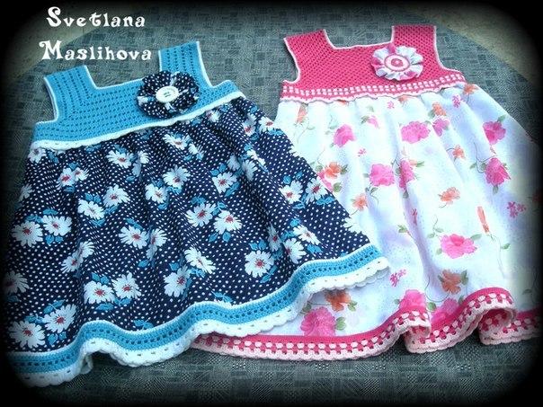 Платья для девочек. Вязание ткань. (9 фото) - картинка