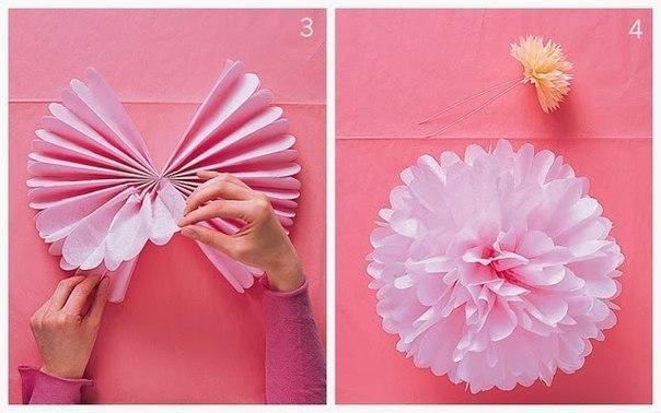 Большие цветы из салфеток своими руками для украшения зала