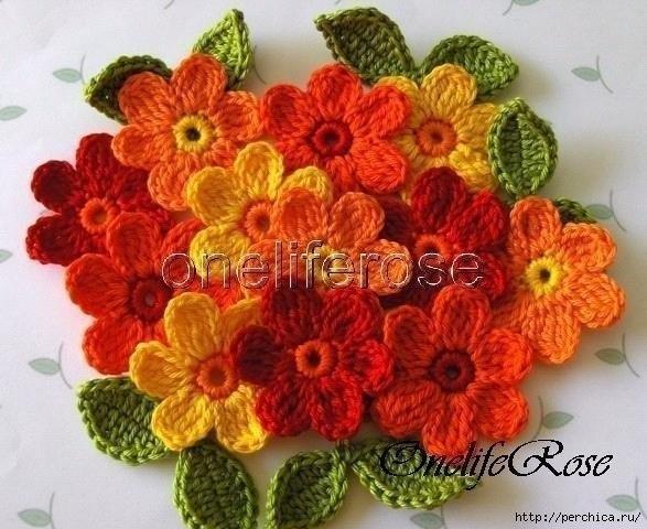Цветочки, вязанные крючком (8 фото) - картинка