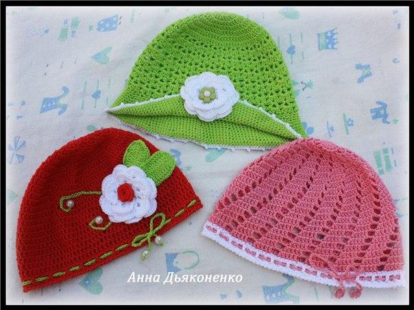 Летние шапочки для малышек (8 фото) - картинка