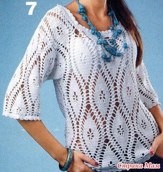 Летняя кофточка пуловер крючком (9 фото) - картинка