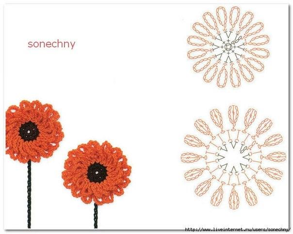 Очень красивые цветы крючком (9 фото) - картинка