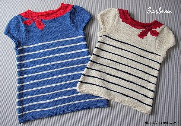 Туника для девочки спицами (9 фото) - картинка