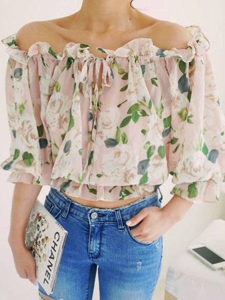 Блузка с открытыми плечами (7 фото) - картинка