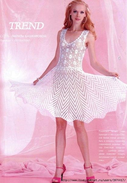 Белое ажурное платье крючком. (3 фото) - картинка