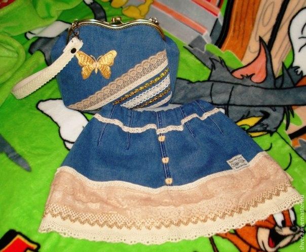 Шьем для девочки юбку и сумочку из ненужных джинсов… (9 фото) - картинка