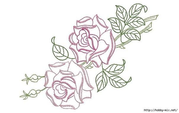 Схемы роз для вышивки гладью