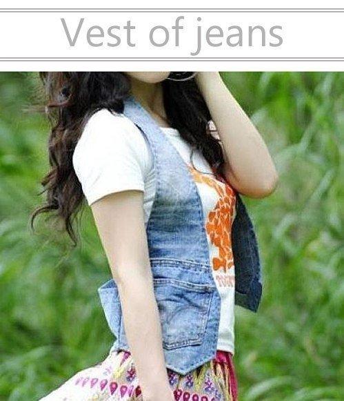 Модная жилетка из старых джинсов (2 фото) - картинка