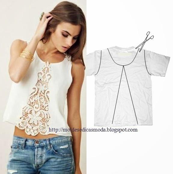 Идеи переделок футболок (8 фото) - картинка